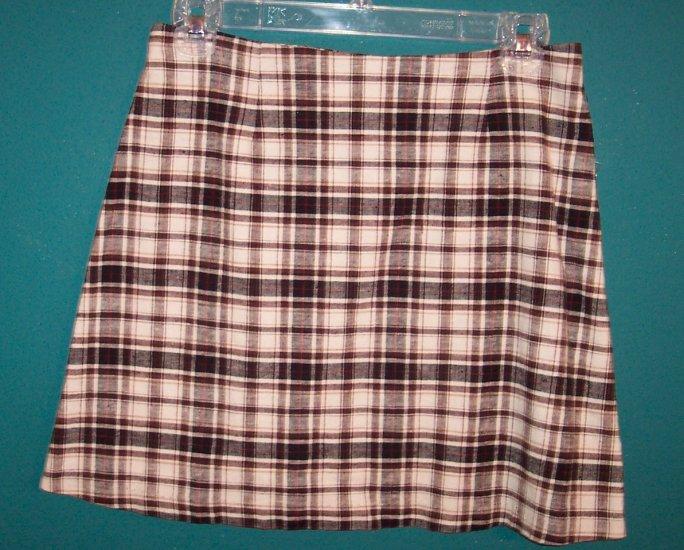 Tracy Evans Brown Beige Plaid School Girl Mini Skirt ~ Junior 5 ~ 101-219