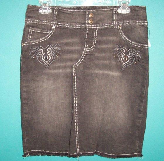 Xhilaration Punk Grunge Hippie Black Denim Skirt ~ Size 3 ~ Urban box9