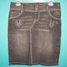 Xhilaration Punk Grunge Hippie Black Denim Skirt ~ Size 3 ~ Urban box9
