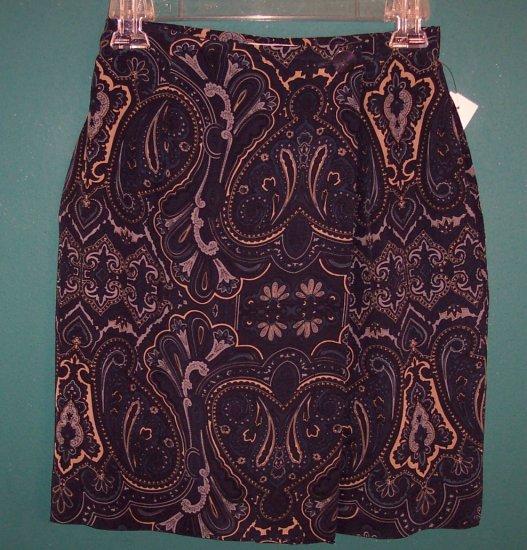 Jones New York Petite Silk Blue Paisley Print Skirt ~ Size 6 P ~ 120-92 box9