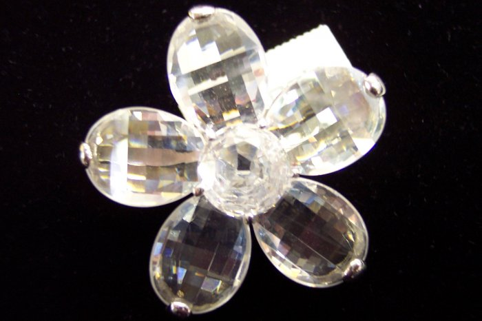 Retired Chico's Rhinestone Flower Brooch Pin New With Tags Silvertone w01