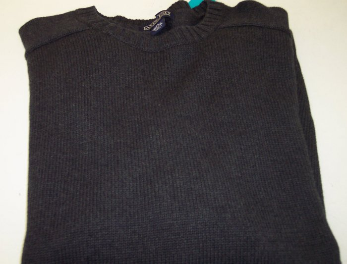 Lands End Men's Cotton Sweater Crew Neckline ~ Like New ~ XL ~ Charcoal ~ 660-66