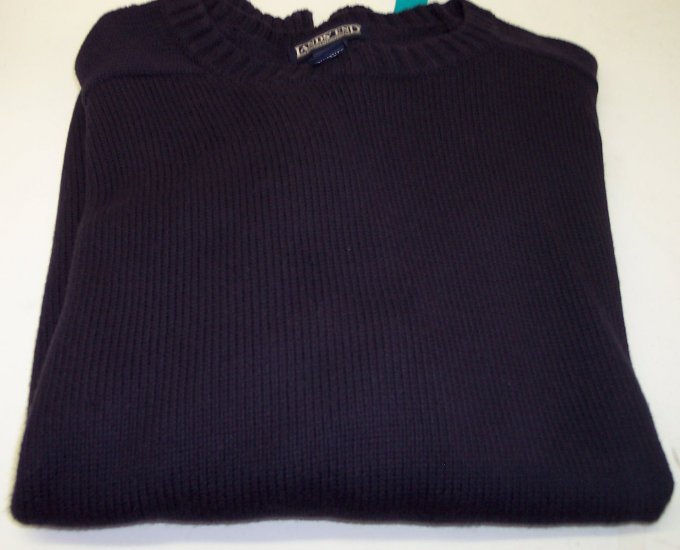 Lands End Men's Cotton Sweater Crew Neckline ~ Like New ~ XL ~ Navy ~ 660-68
