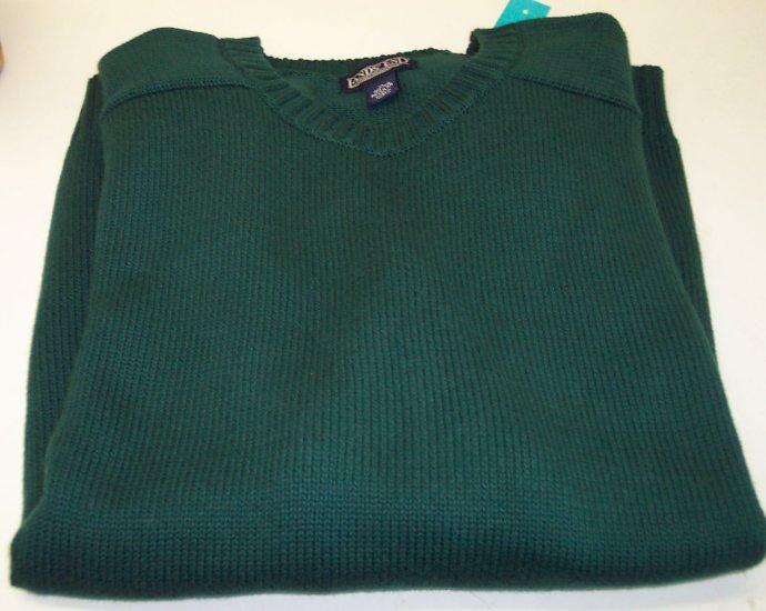 Lands End Men's Cotton Sweater Crew Neckline ~ Like New ~ XL ~ Hunter Green ~ 660-69