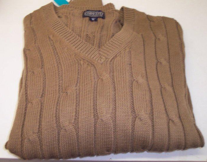Lands End Men's Cotton Cable Knit V-Neck Sweater ~  XL ~ Camel ~ 670-110