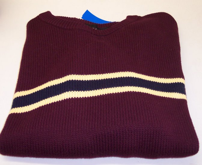 Croft & Barrow Men's Cotton Sweater ~ XL ~ Like New ~ Burgundy With Yellow & Navy Center Stripe