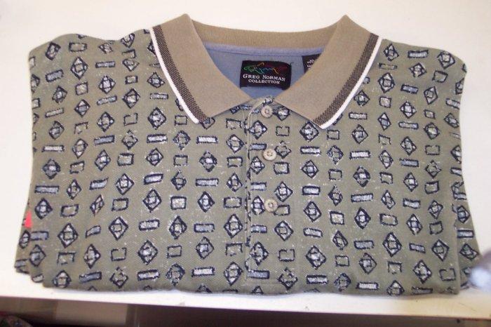Greg Norman Men's Short Sleeve Polo Shirt ~ XL ~ Taupe Abstract Shapes Print ~ 616-121