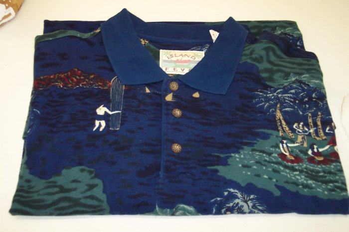 Island Fever Men's Short Sleeve Polo Shirt ~ XL ~ Excellent Condition ~ Blue Hawiian Print ~ 616-123