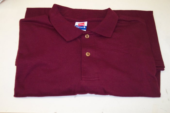 Hanes Stay Clean Men's Short Sleeve Polo Shirt ~ 2XL XXL ~ Burgundy ~ Like New ~ 468-58