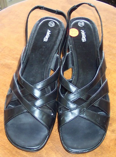 Airstep Black CrissCross Womens Women's Sandals ~ Shoes ~ 11 W 11 Wide~ 101-5016