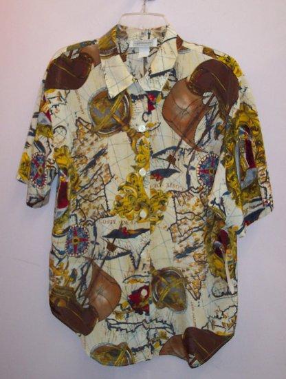 Hippie Rockabilly Retro Funky Hippie NAUTICAL Blouse Shirt Top Size 12 Large 141-556h location87