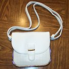 Vintage White Faux Leather Pleather Handbag Purse 101-h131h