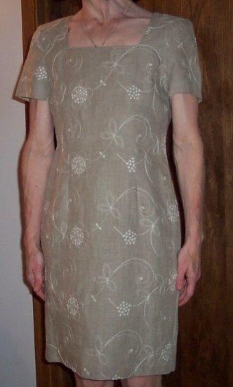 Cute LIZ CLAIBORNE PETITE Career Linen Mini Wiggle Dress Size 2 2P 120-70h