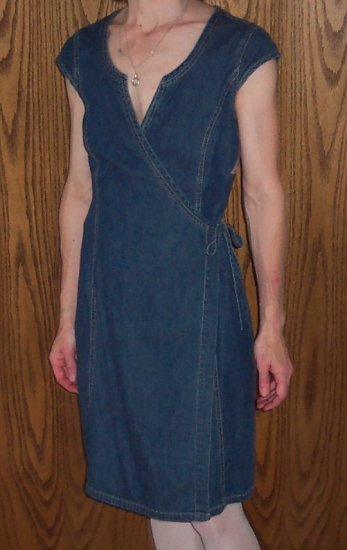 Vintage Retro OLD NAVY Wrap Denim Dress Size 4  101-7hdress