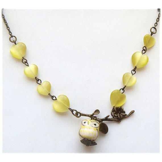 Antiqued Brass Leaf Cat Eye Porcelain Owl Necklace