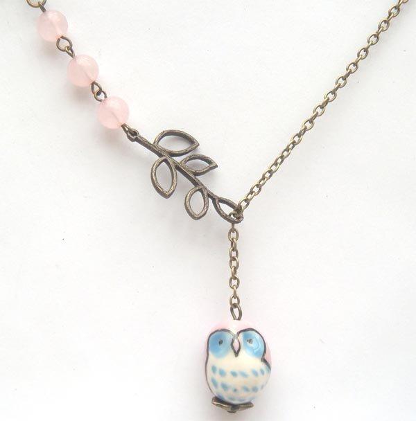 Antiqued Brass Branch Rose Quartz Porcelain Owl Necklace Handmade Vintage Style