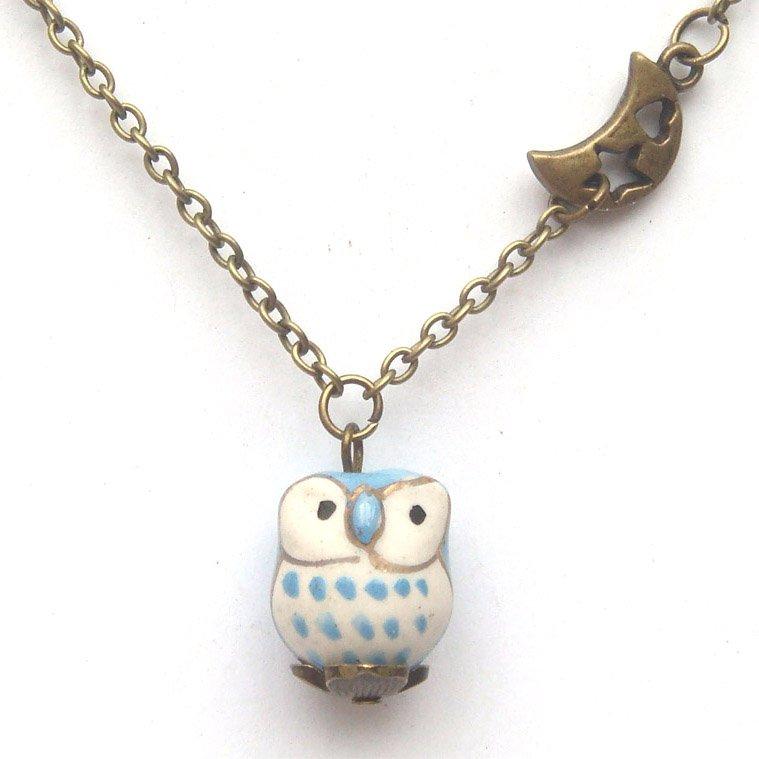 Antiqued Brass Moon Star Porcelain Owl Necklace Handmade Vintage Style