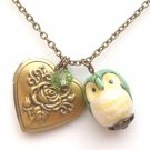 Antiqued Brass Crystal Porcelain Owl Locket Necklace Handmade Vintage Style