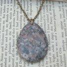 Natural Fossil Jasper Teardrop Pendant Brass Necklace Handmade Vintage Style