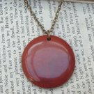 Natural Breciated Jasper Disc Pendant Brass Necklace Handmade Vintage Style
