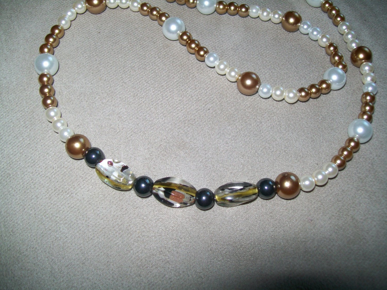 White and Bronze Pearl Necklace