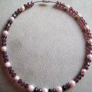 Pink Pearl and Purple Swarovski  choker