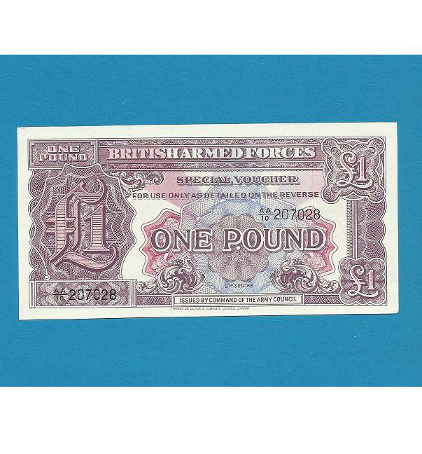 BRITISH ARMED FORCES ONE POUND UNCIRCULATED 2ND SERIES NOTE 1948