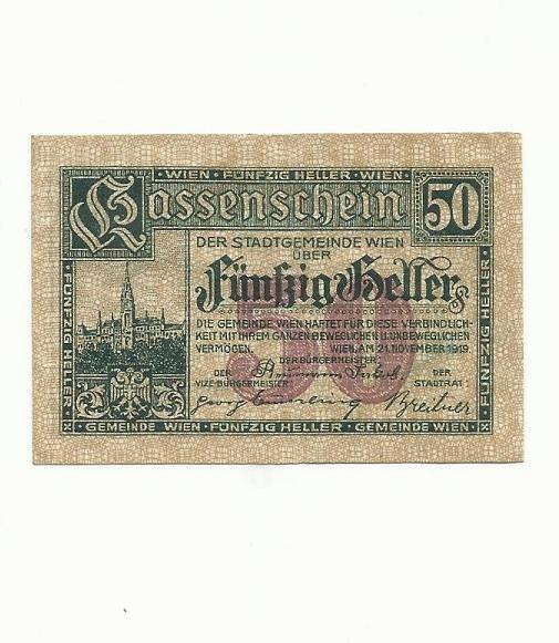 AUSTRIA 1919 FIFTY HELLER KASSENCHEIN NOTGELD NOTE