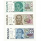 ARGENTINA ONE 1 FIVE 5 AND TEN 10 AUSTRAL UNCIRCULATED BANKNOTES