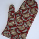 Teal and Crimson Oven Mitt