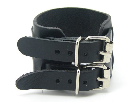 Brown Real Leather Bracelet Cuff Double Buckle 2S