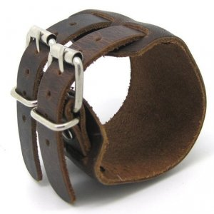 Brown Real Leather Bracelet Cuff Double Buckle 1S