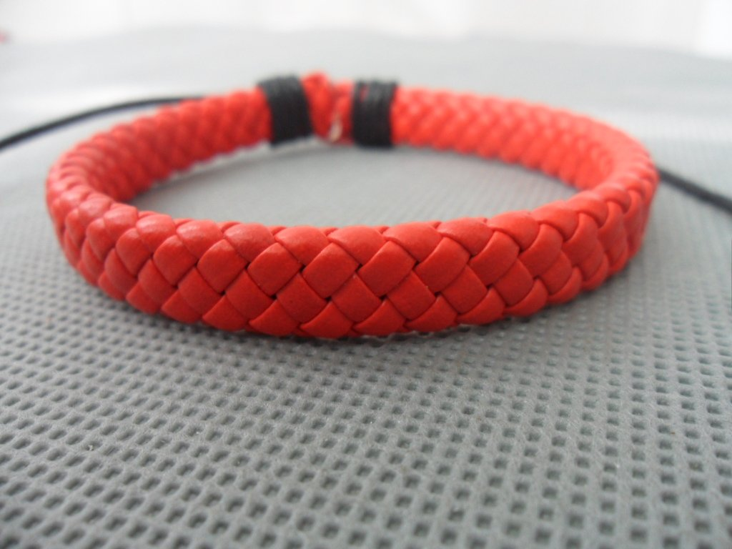 Adjustable red leather Cotton Rope Woven Bracelets 5S