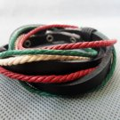 Real Leather and Multicolour Cotton Rope Woven Bracelets Adjustable 10S