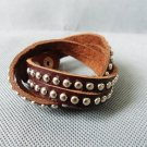 Adjustable hand-made Brown Leather stainless steel Rivets braceletB1