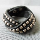 Adjustable hand-made Brown Leather stainless steel Rivets bracelet B2