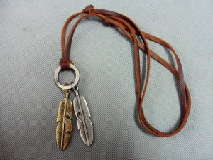 Brown real Leather and alloy feather pendant adiustable necklace N1