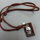 Brown real Leather and alloy skull pendant adiustable necklace N6