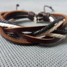 Adjustable white black Cotton Ropes and brown soft Leather Bracelet 16S