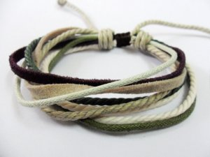 Adjustable white black Cotton Ropes and brown soft Leather Bracelet 17S