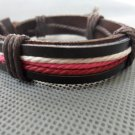 Adjustable black leather and Multicolour cotton ropes bracelet 18S