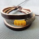 Adjustable black leather and Multicolour cotton ropes bracelet 20S