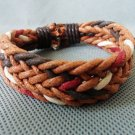 Adjustable black leather and Multicolour cotton ropes bracelet 21S