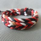 Adjustable black leather and Multicolour cotton ropes bracelet 22S