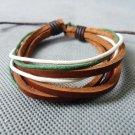 Adjustable black leather and Multicolour cotton ropes bracelet 23S