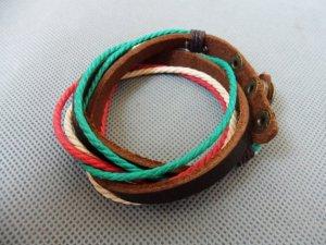 Adjustable black leather and Multicolour cotton ropes bracelet 24S