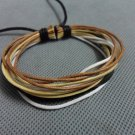 Adjustable black leather and Multicolour cotton ropes bracelet 26S