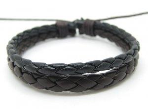 Adjustable black leather and Multicolour cotton ropes bracelet 28S