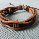 Adjustable black leather and Multicolour cotton ropes bracelet 29S