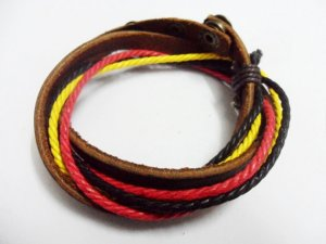 Adjustable black leather and Multicolour cotton ropes bracelet 30S